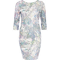 Blue floral sequin embellished bodycon dress