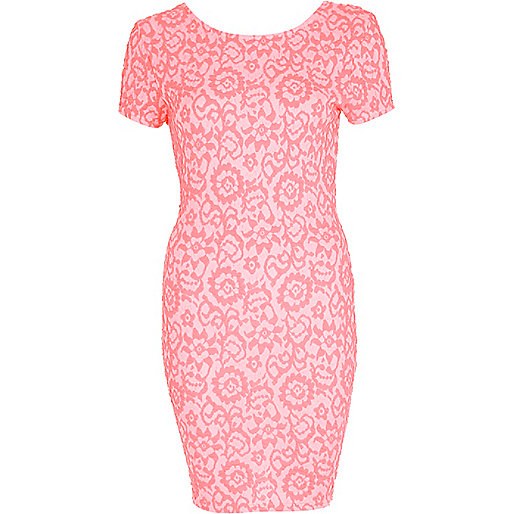 Bright coral floral jacquard bodycon dress