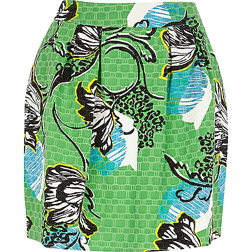 Green floral printed mini skirt