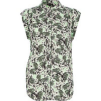 Green tropical floral print shirt