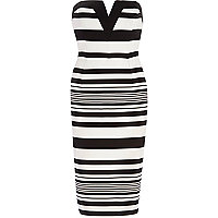 Black and white stripe bandeau pencil dress