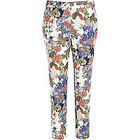 Cream floral slim cigarette trousers