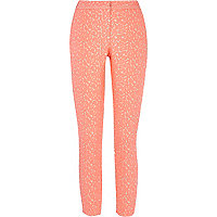 Pink animal jacquard slim cigarette pants