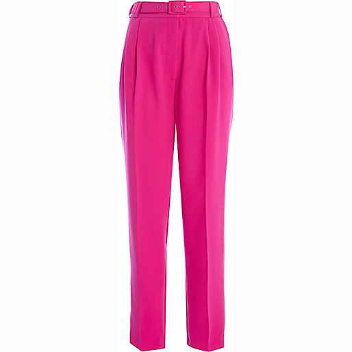 Bright pink high waisted trousers