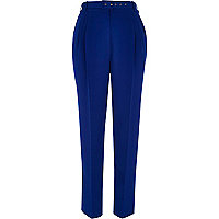Bright blue belted slim trousers
