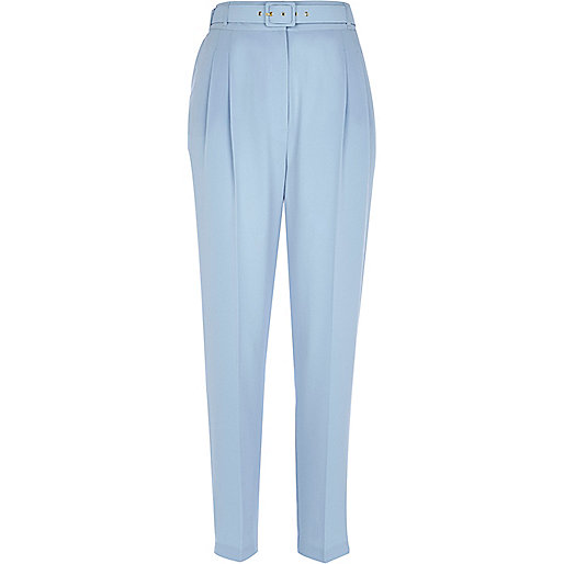 Light blue belted slim trousers