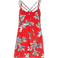 Red floral silhouette print playsuit