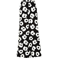 Black and white floral palazzo trousers