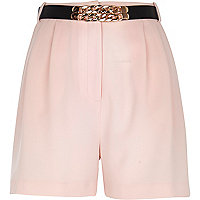 Light pink long smart high waisted shorts