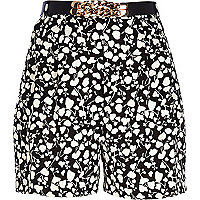 Black floral ditsy print high waisted shorts
