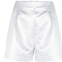 Silver metallic smart shorts