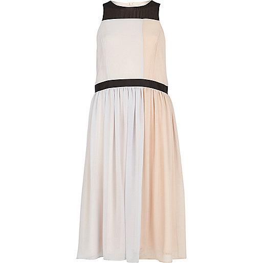 Light pink colour block midi dress