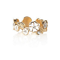 Cream enamel flower thumb ring