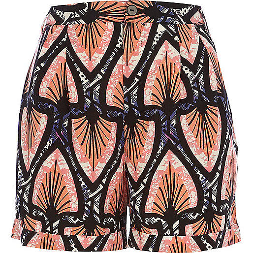 Pink aztec print high waisted shorts
