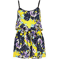 Yellow embellished floral print playsuit