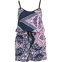 Purple paisley print casual playsuit