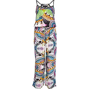 Green jewel print embellished jumpsuit