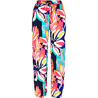 Multicoloured floral print slouch trousers