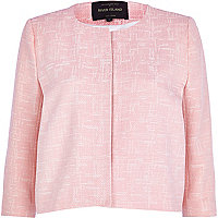 Pink crosshatch boxy cropped jacket
