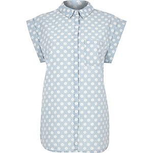 Light blue denim polka dot roll sleeve shirt