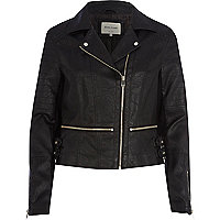 Black leather-look waist zip biker jacket