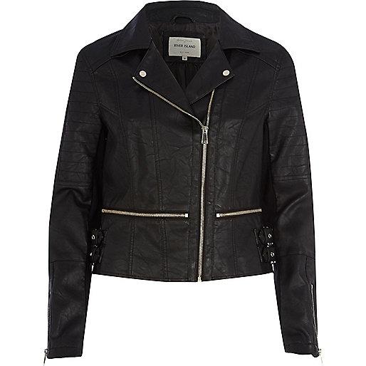 Black leather-look waist zip biker jacket