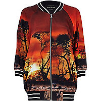 Orange sunset print bomber jacket