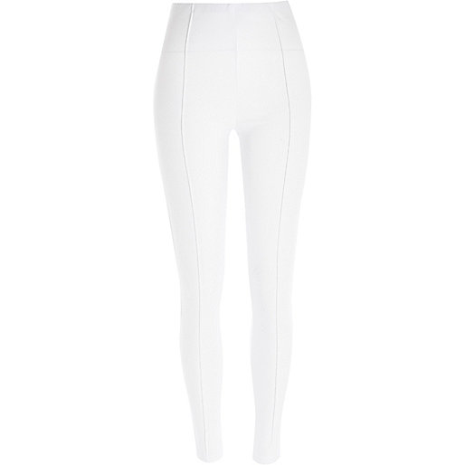 White high waisted pintuck leggings