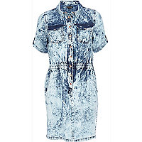 Light wash bleached denim dress