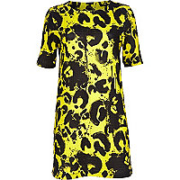 Yellow painted animal print shift dress