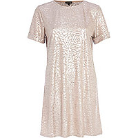 Light pink metallic shift dress