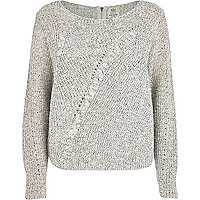 Grey twist knit cable jumper