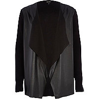Black leather-look front waterfall cardigan