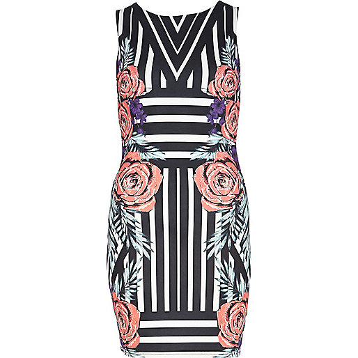 Black striped floral print bodycon dress