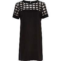 Black caged mesh t-shirt dress