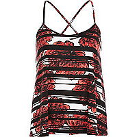 Red floral stripe print cross back cami top