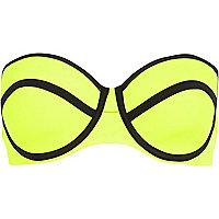 Bright yellow bustier bikini top