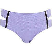 Lilac textured high waisted bikini bottoms