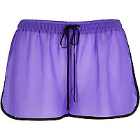 Purple contrast trim runner shorts