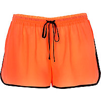 Bright coral contrast trim runner shorts