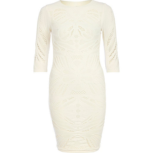 Cream crochet bodycon dress