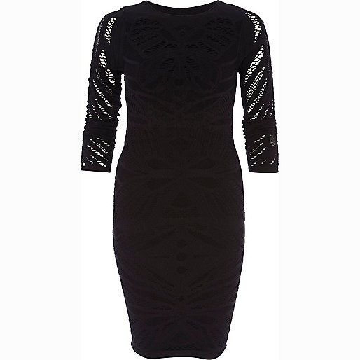 Black 3/4 sleeve crochet bodycon dress