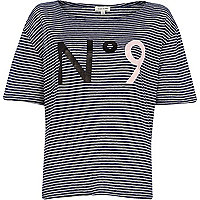Navy stripe No 9 print t-shirt