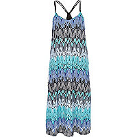 Blue Chelsea Girl zig zag knit midi dress