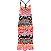 Pink Chelsea Girl zig zag knit maxi dress