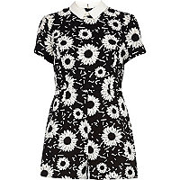 Black and white floral print playsuit