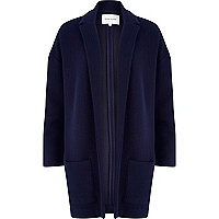 Navy blue quilted jersey oversized jacket