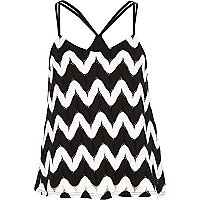 Black Chelsea Girl zig zag print cami top