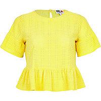 Yellow Frill Sleeve Peplum Lace T