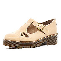 Light brown cut out cleated sole shoes